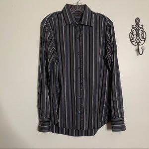 7 Diamonds Cotton Striped L/S Shirt Sz M